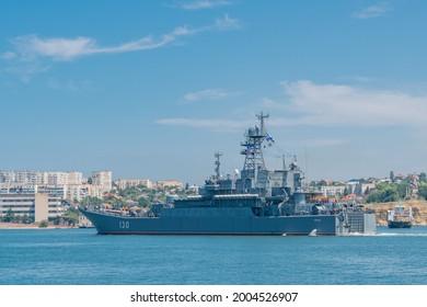 Sevastopol , CRIMEA - 17 June 2021: Ropucha-class landing ship Korolev or Project 775, large landing craft in the seaport of Sevastopol