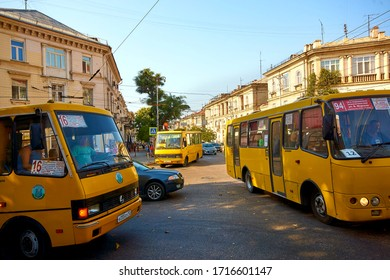 Sevastopol / Crimea - August 17, 2017: Center of Sevastopol. Yellow bus BAZ A079