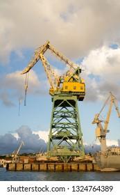 Sevastopol, Crimea - June 30, 2018: Crane on the pier in the Bay of Sevastopol.