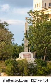 Sevastopol, Crimea - June 30, 2018: The obelisk on Cape Pavlovskij-legend - Destroyer Svobodnyi.