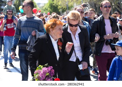 SEVASTOPOL / CRIMEA - MAY 9, 2015: Veterans at the parade in honor of the 70th anniversary of Victory Day, May 9, 2015 in Sevastopol