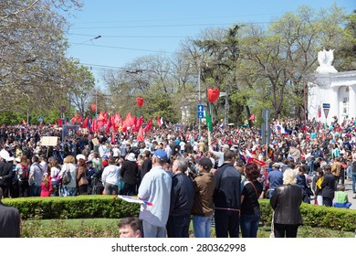 SEVASTOPOL / CRIMEA - MAY 9, 2015: A lot of people watching the parade in honor of the 70th anniversary of Victory Day, May 9, 2015 in Sevastopol