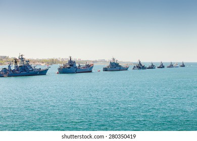 SEVASTOPOL, CRIMEA - MAY 9: Parade of the Russian warships celebrating in honor of 70th anniversary of Victory Day on May 9th, 2015. Russian Navy fleet in the Sevastopol Bay, Crimea. Russia. Ukraine