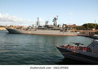 Sevastopol, Crimea, Russia - 29 June 2019: Demonstration of military ships