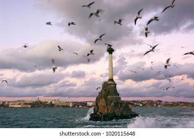 Sevastopol, Crimea, Russia - January 31, 2018: Monument to sunken ships and flying seagulls. Monument was created in 1905 in honor of 50th Anniversary of First Siege of Sevastopol in Crimean war.
