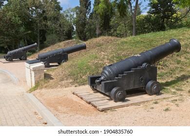 Sevastopol, Crimea, Russia - July 27, 2020: Anti-storm battery in the memorial complex Malakhov Kurgan of the Hero City of Sevastopol, Crimea