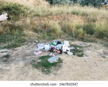 Sevastopol, Crimea / Russia - July 31, 2019: a lot of garbage and waste of life activities dumped by tourists inaccurate dumps