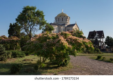 Sevastopol, Crimea, Russia - June 26, 2019: Vladimir Cathedral in Chersonesos. It was built in the place where Prince Vladimir was baptized in 987. St. Vladimir Cathedral is a landmark of Sevastopol.