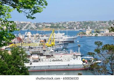 Sevastopol, Crimea, Russia, May, 08, 2017. Nobody, views of Sevastopol in spring. Ships in the port in sunny day
