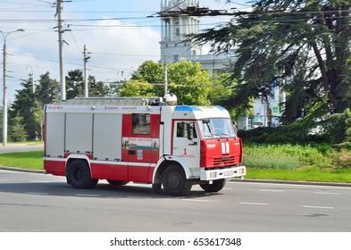 Sevastopol, Crimea, Russia, May, 08, 2017. Fire truck on the square of Lazarev