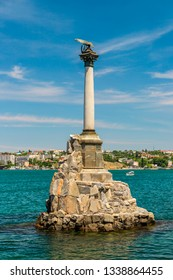 SEVASTOPOL, CRIMEA, RUSSIA - MAY 29, 2018: Monument to the Scuttled Ships in Sevastopol Bay. It was built in 1905 in honor of the 50th anniversary of the First Defense of Sevastopol in the Crimean War