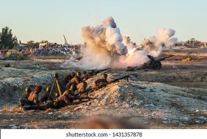 Sevastopol, Crimea, RUSSIA - SEPTEMBER 16, 2017: Reconstruction of the battle of the second world war. Battle for Sevastopol. Reconstruction of the battle with explosions