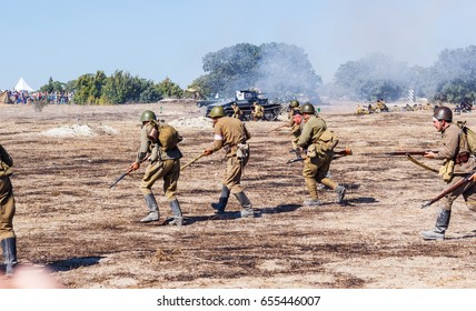 Sevastopol, Crimea, RUSSIA - SEPTEMBER 18, 2015: Military-historical festival in Crimea. Battle for Sevastopol