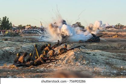 Sevastopol, Crimea, RUSSIA - SEPTEMBER 18, 2015: Military-historical festival in Crimea. Battle for Sevastopol