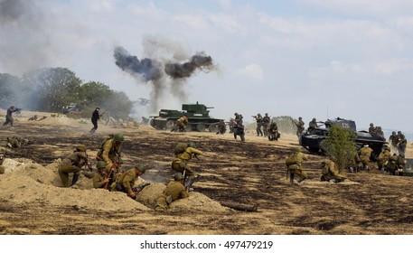 Sevastopol, Crimea, RUSSIA - SEPTEMBER 19, 2014: Military-historical festival in Crimea. Battle for Sevastopol (1944)