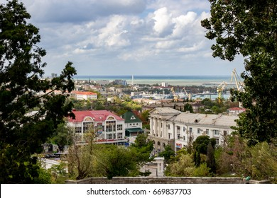 SEVASTOPOL, CRIMEA - SEPTEMBER 2014: View of Sevastopol from Malakhov Kurgan. Ship side