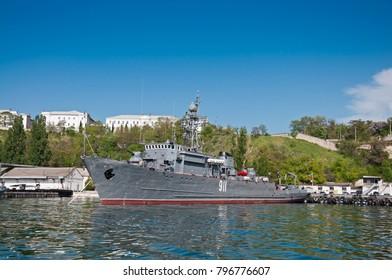 "SEVASTOPOL, CRIMEA, UKRAINE - MAY 06, 2013: Seagoing Minesweeper ""Ivan Golubets"" (911), Ship of The Black Sea Fleet of the Russian Navy"