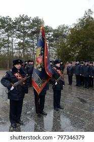 SEVASTOPOL, REPUBLIC OF CRIMEA - MARCH 11, 2015: Police officers at the obelisk of Glory on Sapun Mountain in Sevastopol.