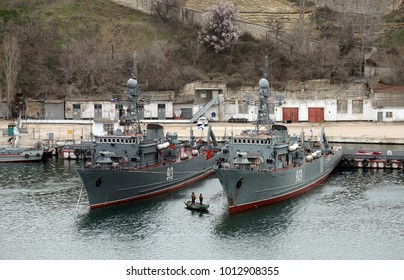 SEVASTOPOL, REPUBLIC OF CRIMEA,  RUSSIA - MARCH 11, 2015: Sea minesweepers in the Southern Bay of Sevastopol.
