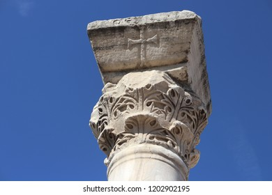 SEVASTOPOL, REPUBLIC OF CRIMEA / RUSSIA - SEPTEMBER 19 2018: The column capital in the Chersonesus is an ancient Greek colony founded approximately 2,500 years ago in the Crimea