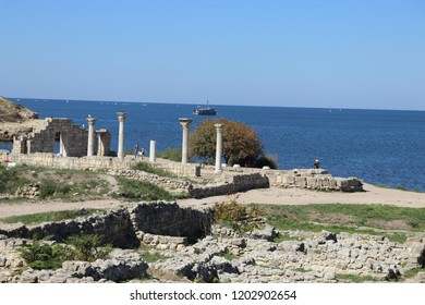 SEVASTOPOL, REPUBLIC OF CRIMEA / RUSSIA - SEPTEMBER 19 2018: The columns in the Chersonesus is an ancient Greek colony founded approximately 2,500 years ago in the Crimea