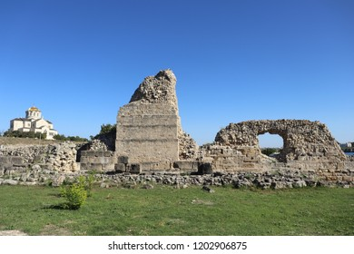 SEVASTOPOL, REPUBLIC OF CRIMEA / RUSSIA - SEPTEMBER 19 2018: Ruined stone walls around the Chersonesus is an ancient Greek colony founded approximately 2,500 years ago in the Crimea