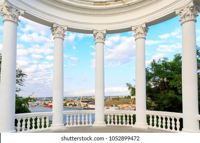 Sevastopol, rotunda overlooking the Southern bay, the Crimea, Russia.
