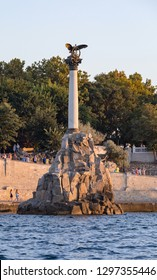 SEVASTOPOL, RUSSIA - August 15, 2018: Monument to the Scuttled Ships in Sevastopol Bay. It was built in 1905 in honor of the 50th anniversary of the First Defense of Sevastopol in the Crimean War