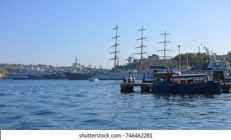 SEVASTOPOL, RUSSIA, Crimea - September 14, 2017.Warships in Sevastopol Bay. Crimea. Black Sea