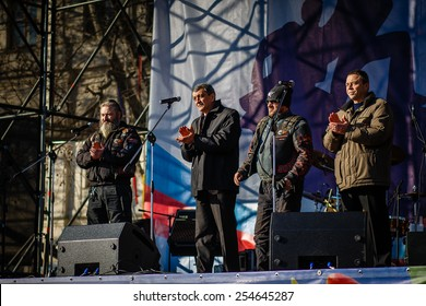 "SEVASTOPOL RUSSIA - FEBRUARY 21: Organizers and supporters of the ""anti-maidan"" rally on stage, incl. Governor of Sevastopol  on february 21, 2015, at Nahimov square in Sevastopol."