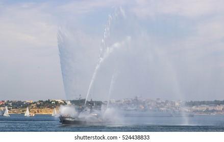 Sevastopol, Russia - July 27, 2014: Parade of warships and military equipment Russian Sea Fleet