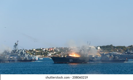 SEVASTOPOL RUSSIA - JULY 28: artillery salute in the honor of the Day of the Navy on july 28, 2014 in Sevastopol, Crimea, Russia.