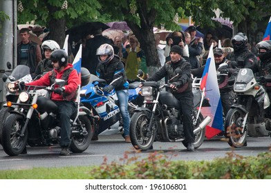 SEVASTOPOL, RUSSIA - MAY 09: Celebrating the 69th anniversary of the Victory Day (WWII).Sevastopol 2014. Parade, bikers.