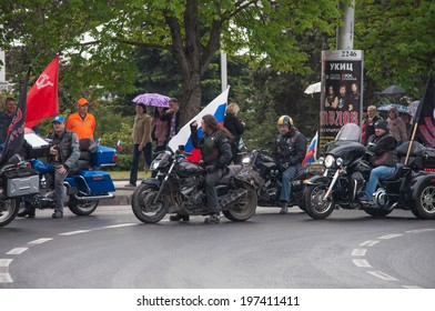 SEVASTOPOL, RUSSIA - MAY 09: Celebrating the 69th anniversary of the Victory Day (WWII) and 70th anniversary of Sevastopol liberation from fascists..Sevastopol 2014. Parade, bikers.