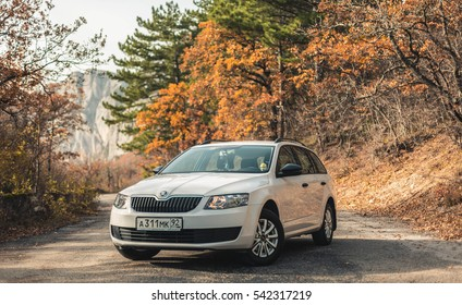 Sevastopol, Russia - October 30, 2016:Skoda Octavia Combi in the Crimean roads. Compact family car produced by Czech automaker Skoda Auto.