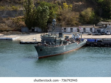 "SEVASTOPOL, RUSSIA - SEPTEMBER 18, 2014: The sea minesweeper ""Ivan Golubets"" in the Southern Bay of Sevastopol."