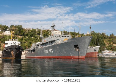 SEVASTOPOL, UKRAINE - AUGUST 13, 2011 - The military ship in the naval bay of Sevastopol on 13 of August, 2011.