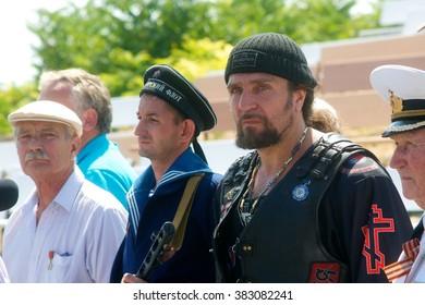 """SEVASTOPOL, UKRAINE - AUGUST 18, 2013: Organizer show """"Surgeon"""", International Moto Bike Show, August 18, 2012 in Sevastopol, Ukraine"""
