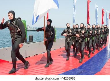 SEVASTOPOL, UKRAINE - JULY 29: Russian frogmen participate in a naval show on Russian Navy Day on July 29, 2007 in Sevastopol, Ukraine.