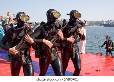 SEVASTOPOL, UKRAINE - JULY 30, 2006: Russian frogmen participate in a naval show on Russian Navy Day on July 30, 2006 in Sevastopol, Ukraine.