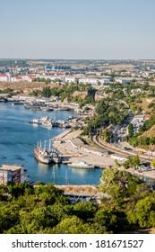 SEVASTOPOL, UKRAINE - MARCH, 2014: Russian Navy warships at the Bay of Sevastopol, Crimean peninsula, Ukraine   on 14 of March, 2013