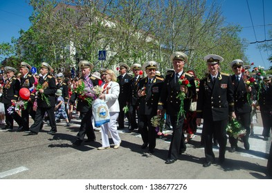 SEVASTOPOL, UKRAINE - MAY 9: Parade in honor of the victory in World War 2 in the hero city Sevastopol, Ukraine, May 9, 2013