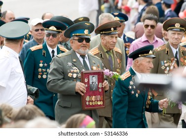 SEVASTOPOL, UKRAINE - MAY 9: Victory Day. The parade of veterans in honor of 65 anniversary of the victory on May 9, 2010 in  Sevastopol, Ukraine.
