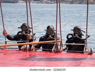 SEVASTOPOL, UKRAINE:JULY 30, 2006: Russian frogmen participate in a naval show on Russian Navy Day on July 30, 2006 in Sevastopol, Ukraine.
