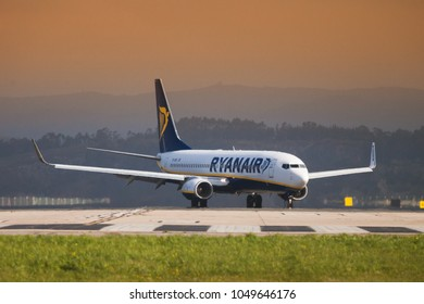 Seve Ballesteros airport, Santander, Spain - 12 March, 2018: Ryanair Boing 737 on the landing strip. Ryanair offers flights from Santander to different European cities such as London, Rome, Dublin...