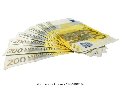 Seven 200 Euro bills arranged in a fan in a low angle view