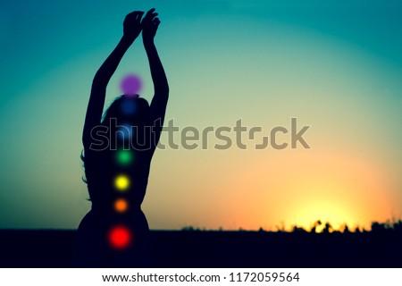 Seven chakras Silhouette of
