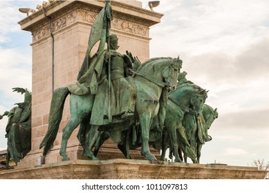 The seven chieftains in Heroes' Square in Budapest, Hungary. The sculptures were made by sculptor Zala Gyorgy from Lendava in 1896 in Budapest.