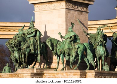 The seven chieftains in Heroesâ?? Square in Budapest, Hungary. The sculptures were made by sculptor Zala Gyorgy from Lendava in 1896 in Budapest.