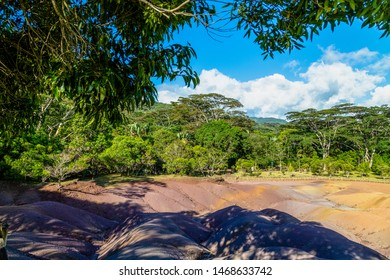Seven coloured earth (sandstone formation with seven colours) on Mauritius island, Chamarel, Indian ocean